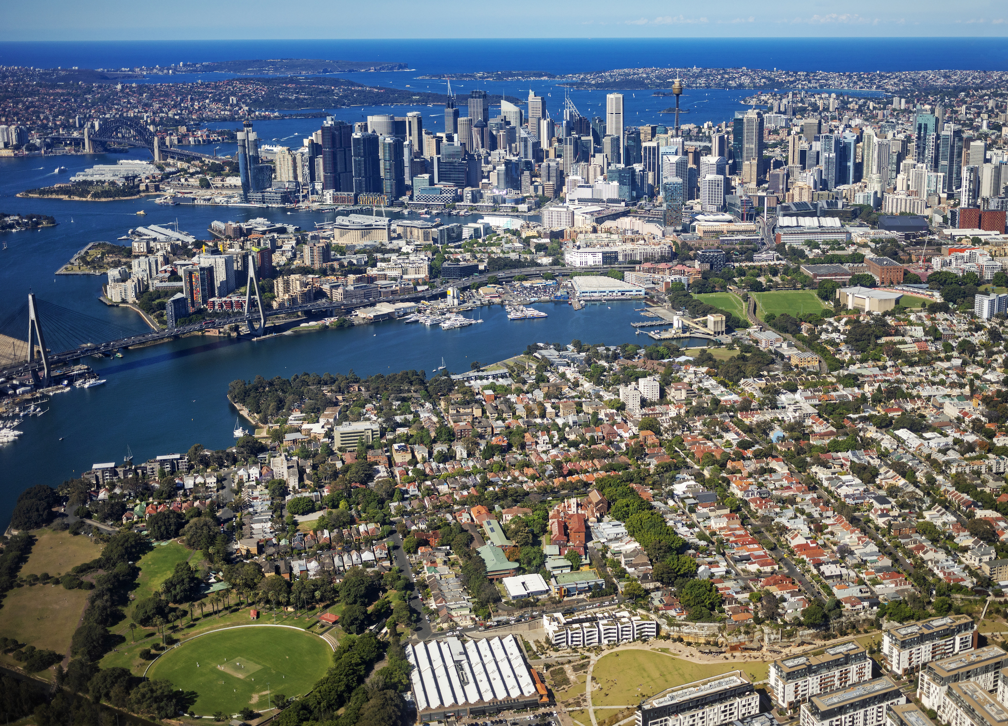 Sydney city skyline with inner suburbs of Glebe and Pyrmont, Australia, aerial photography